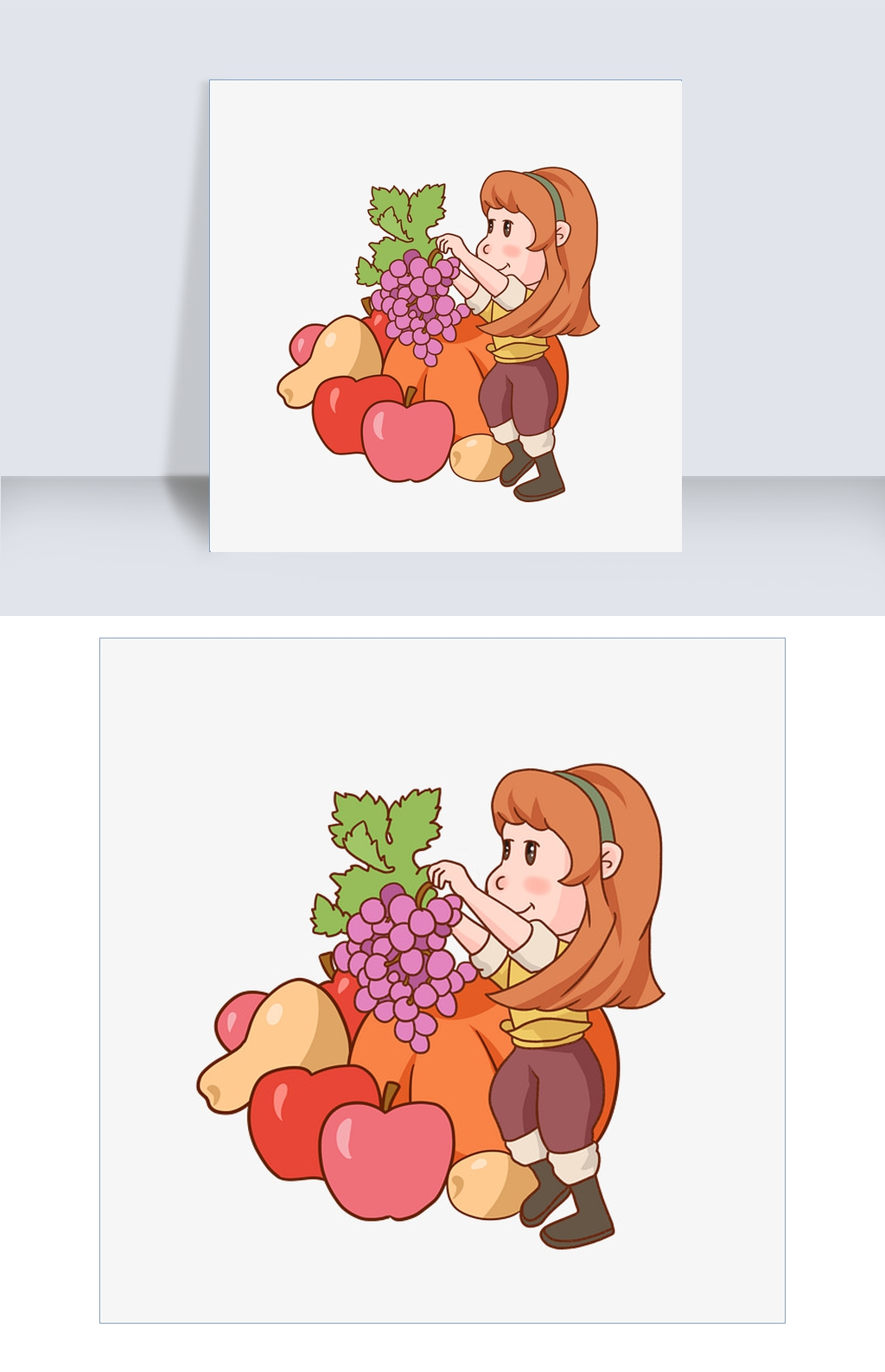 丰收女孩水果手绘图图片素材 其他格式 下载 动漫人物大全