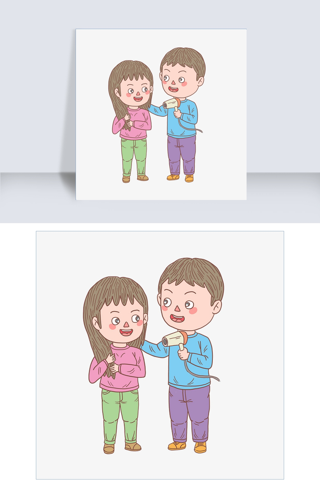 卡通手绘人物谈吹头发情侣图片素材 PSB格式 下载 动漫人物大全