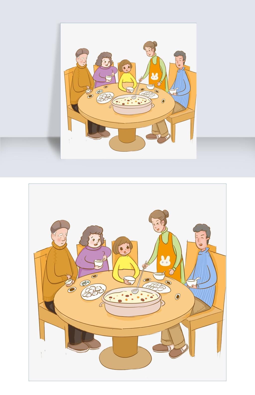 过年团圆饭主题插画 卡通手绘免费下载-千图网手机版