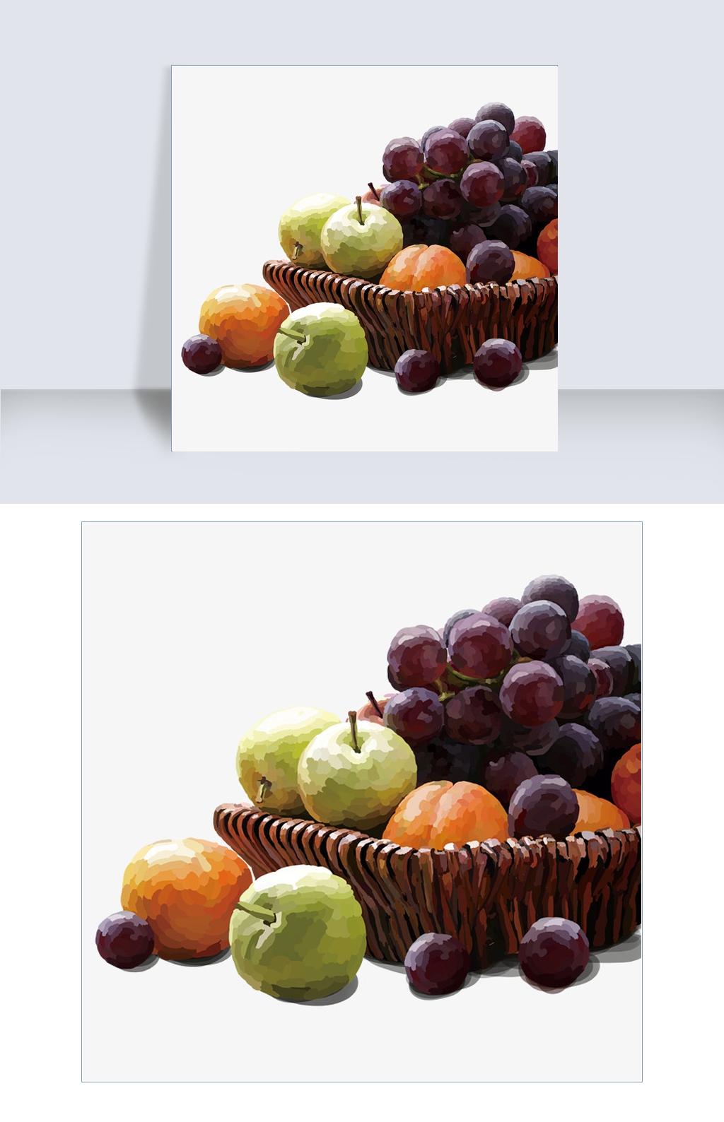 复古竹篮与新鲜水果手绘图.