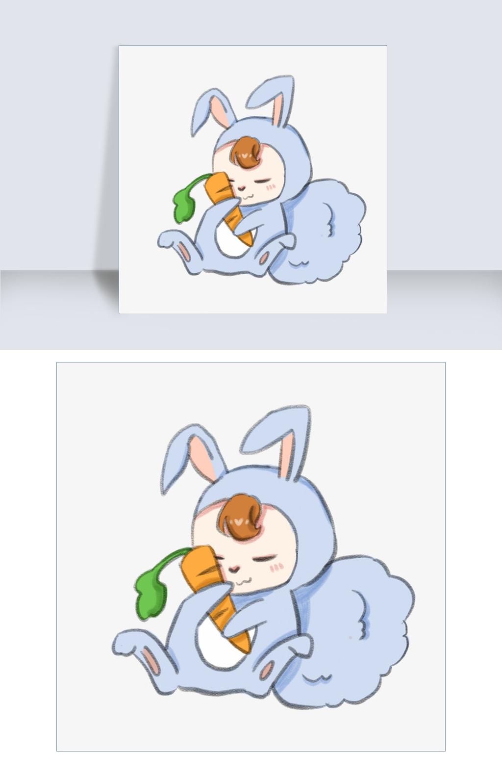 十二生肖蜡笔画 兔子图片素材 PSB格式 下载 动漫人物大全