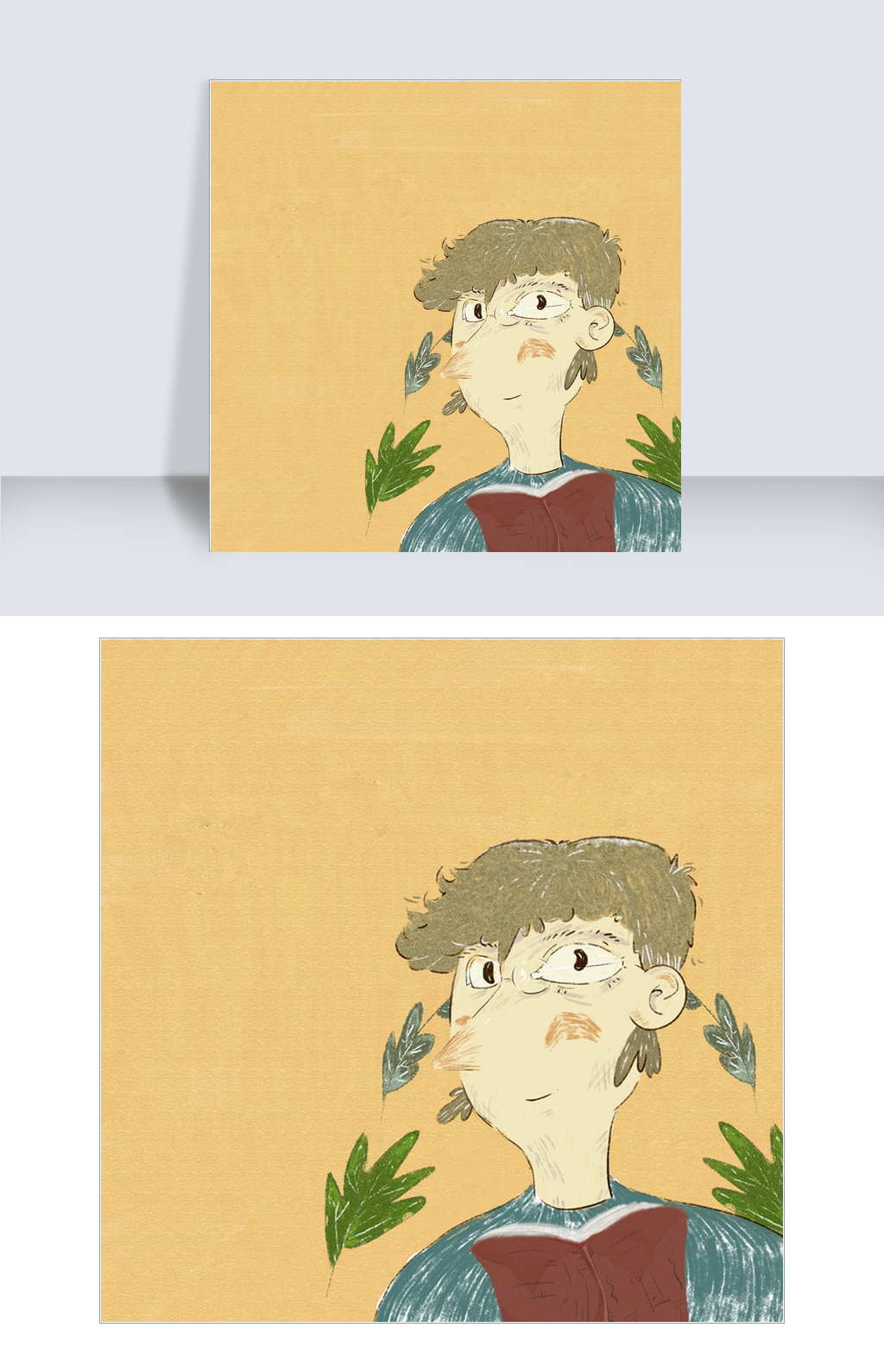 读书日手绘风格插画封面海报图片素材 PSB格式 下载 其他大全