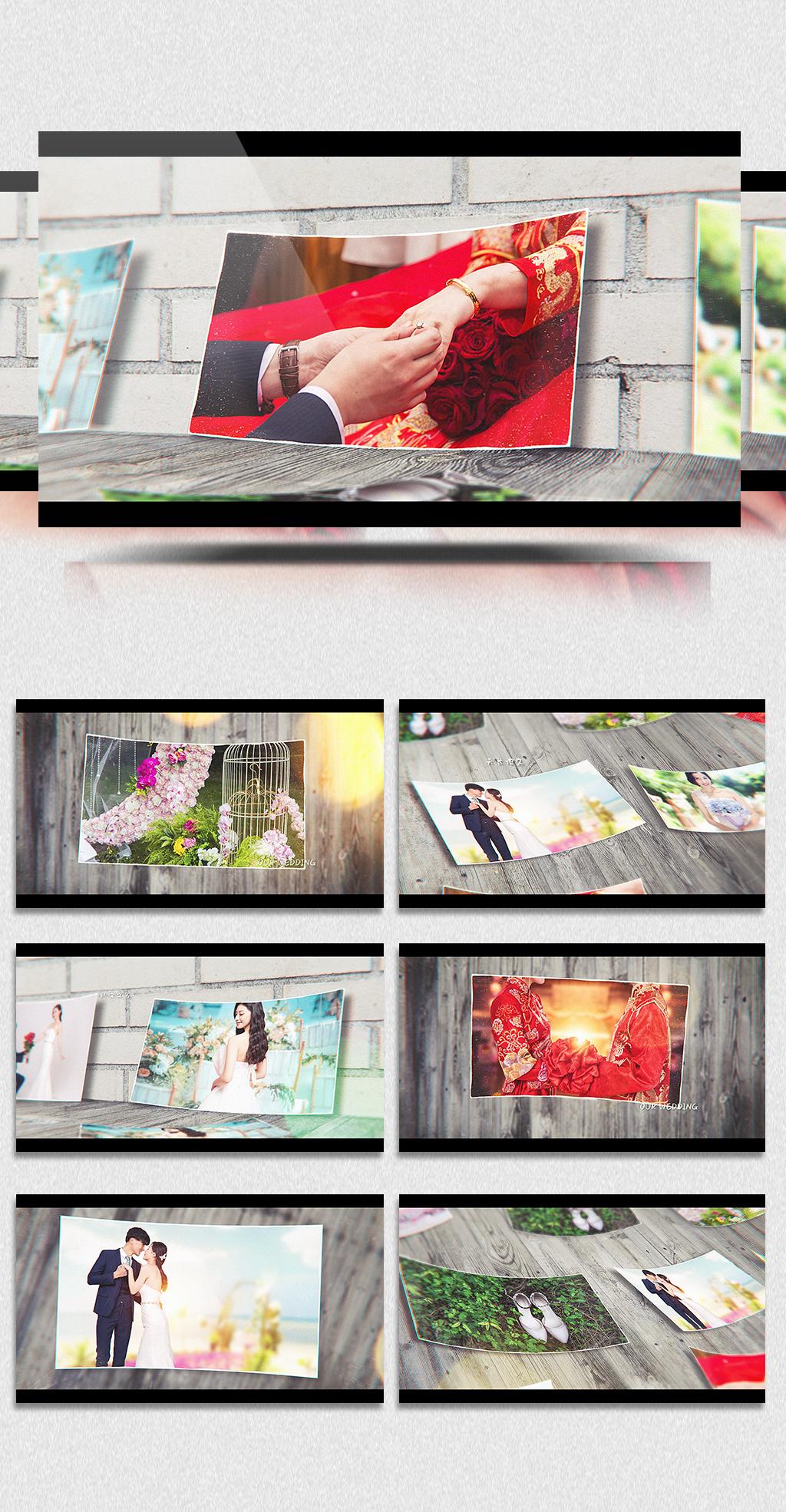 唯美模板纪念视频照片AE视频本绘婚礼点图片