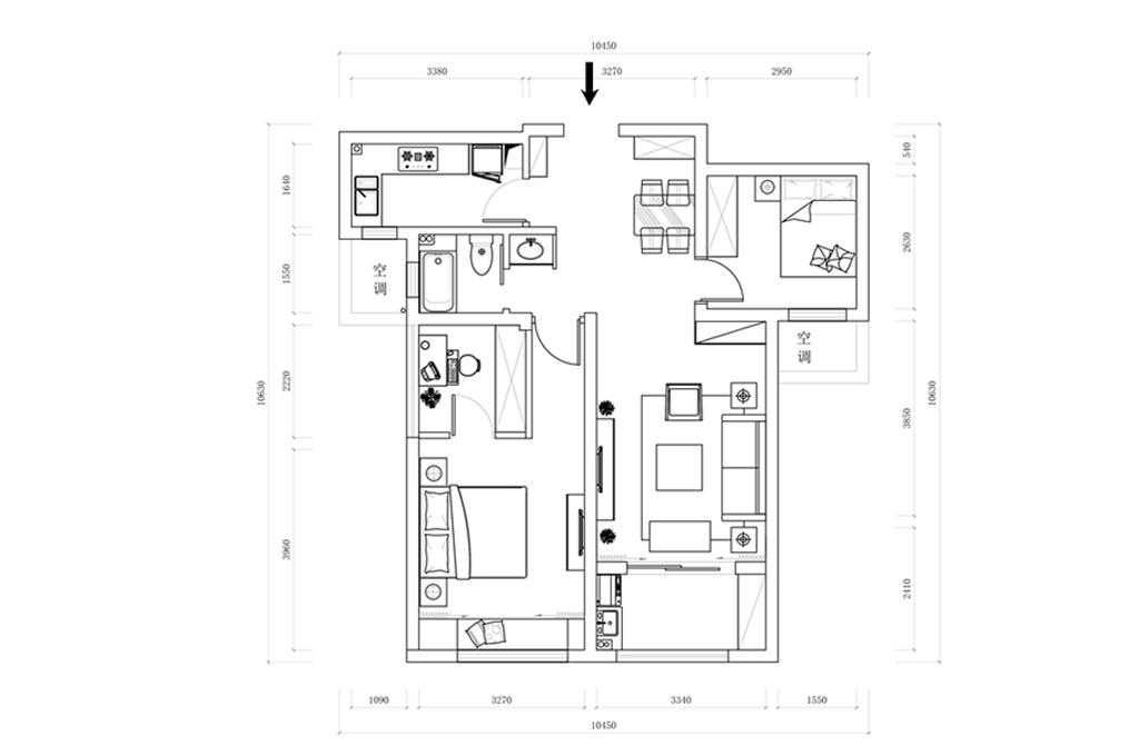 CAD两室一厅平面图片素材 DWG格式 下载 其他模型大全