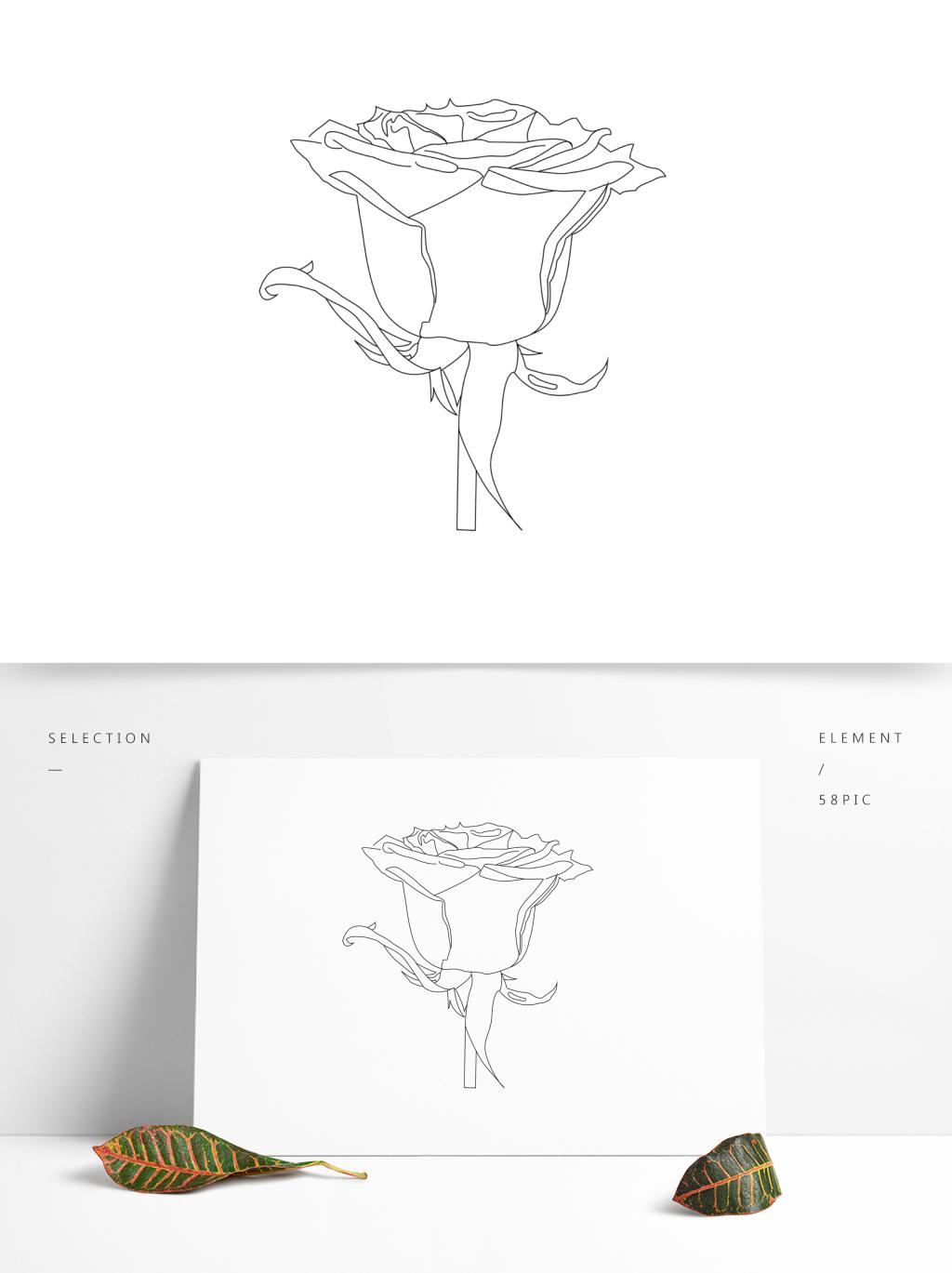 七夕情人节玫瑰简笔花朵简约