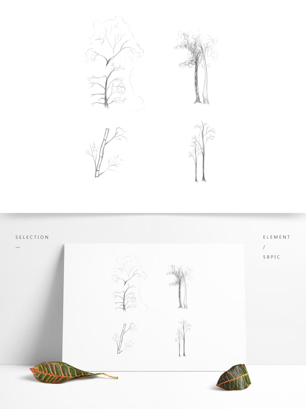 原创商用钢笔手绘风格植物树灌木竹子图片素材 PSB格式 下载 其他大全