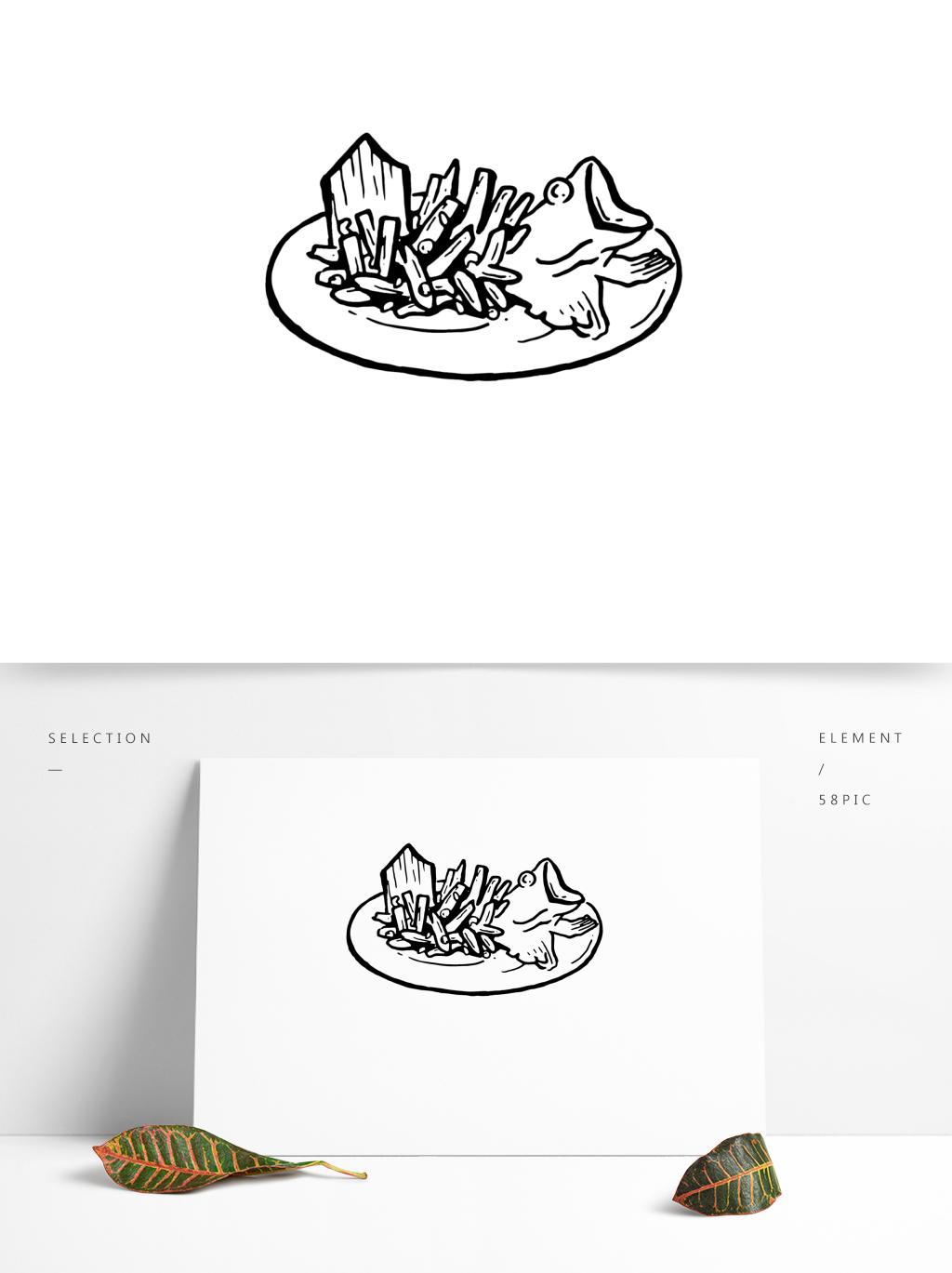 盘中鱼简笔画可商用元素图片素材 AI格式 下载 其他大全