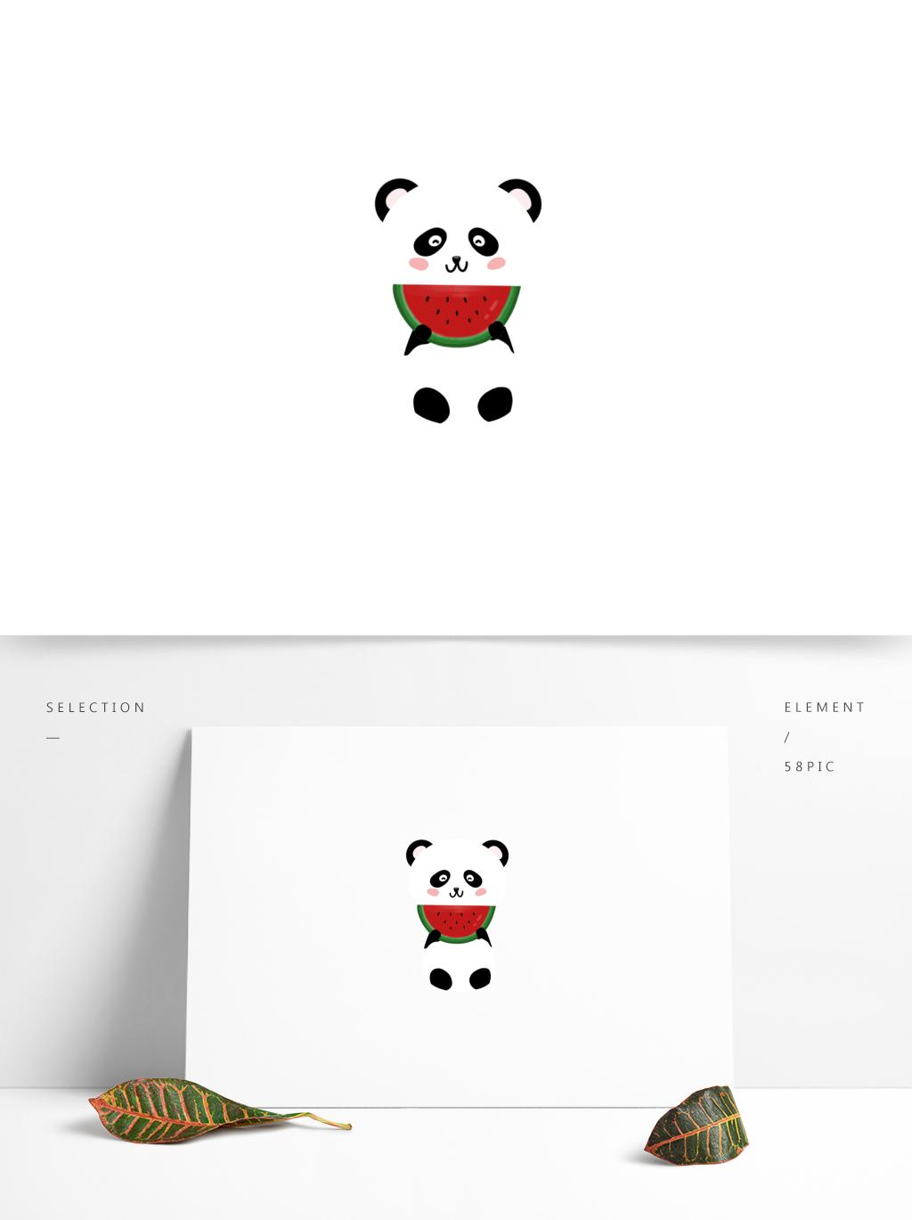 卡通吃瓜熊猫动物手绘元素