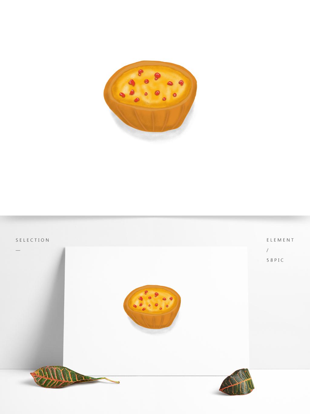 手绘美食蛋挞素材元素