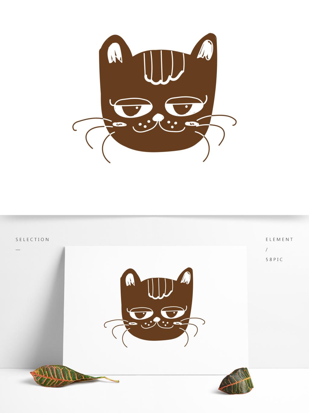 卡通可爱手绘线条黑白手账风动物猫