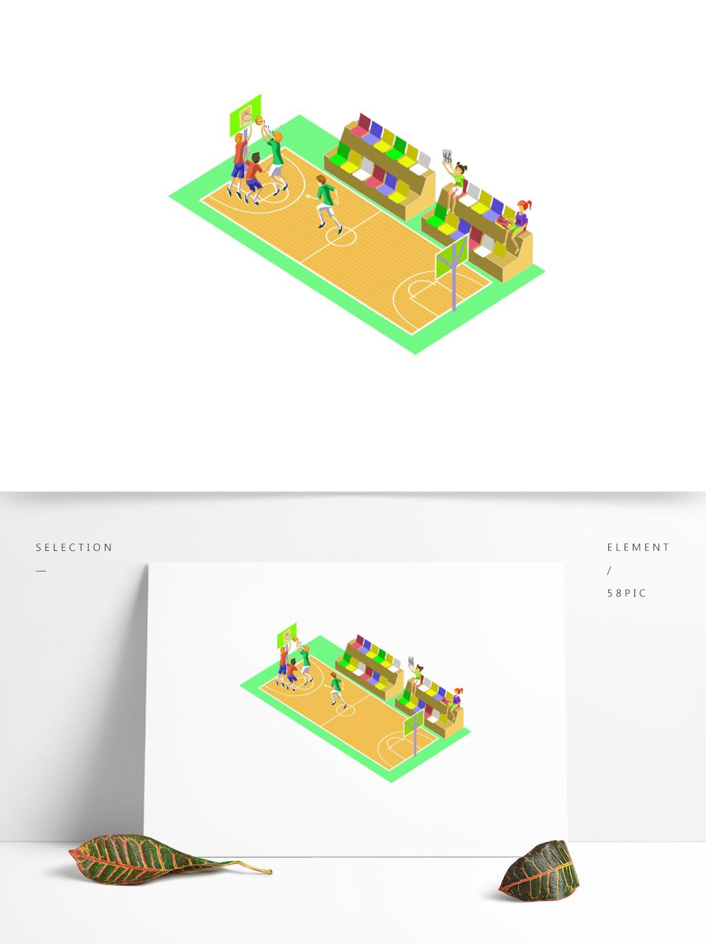 篮球场2.5D场景插画矢量手绘图图片素材 其他格式 下载 互联网图标大全