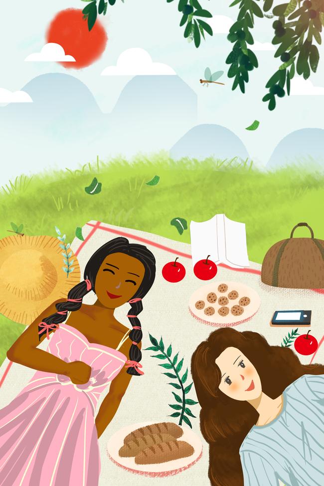 快乐野餐手绘插画
