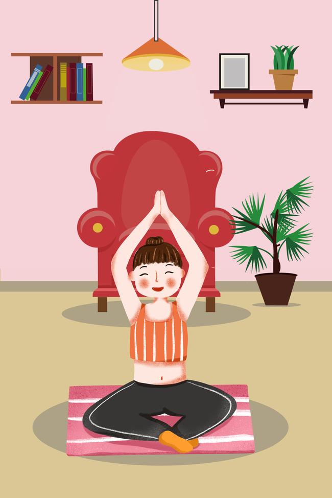 秋季养身手绘女孩卡通练女生v女孩创意网名a女孩瑜伽好看海报符号图片