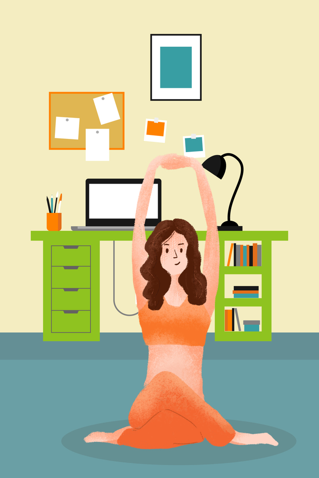 秋季养身卡通手绘瑜伽锻炼宣传海报