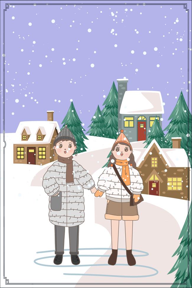 十一月你好闺蜜下雪天卡通房子村庄创意海报图片素材 PSB格式 下载 其他大全