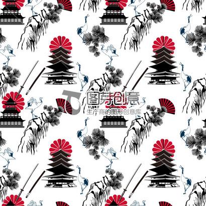 白底简约日式建筑仙鹤服装印花设计 日本 日式元素 日本建筑 仙鹤