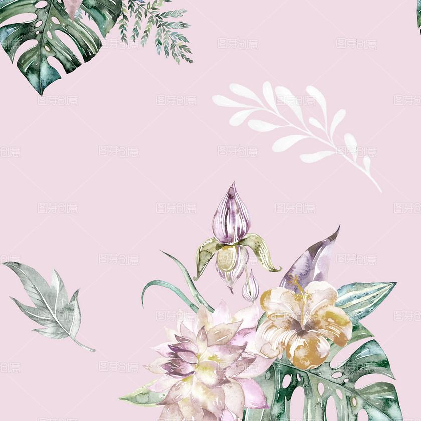 浅粉色简约热带雨花草家纺图案纯棉直喷设计图案_原创