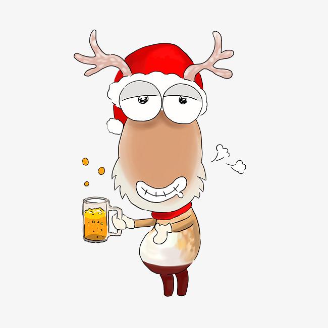 圣诞节卡通手绘驯鹿大叔干杯