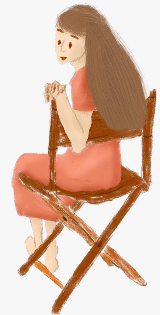 卡通手绘坐在椅子上的长发女孩