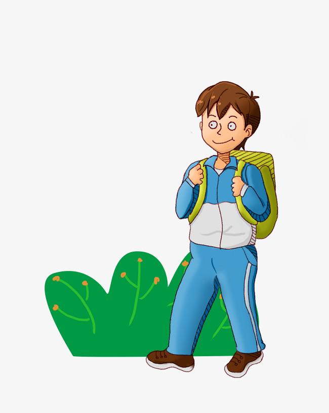 设计元素 人物形象 动漫人物 > 手绘风格去上学的小男孩   图片编号:2