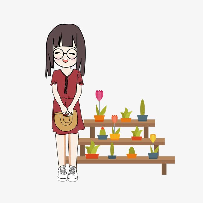 手绘女生枣红色连衣裙服装搭配