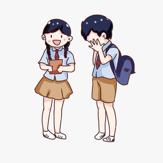 手绘卡通中小学生开学日
