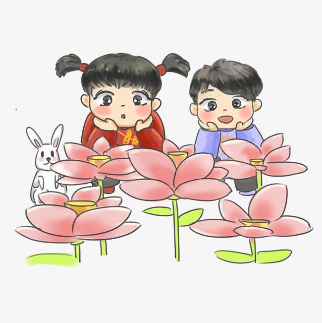 手绘卡通中秋节全家团聚吃月饼