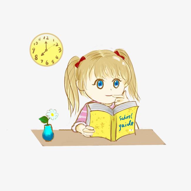 开学前夕的小女孩手绘png素材