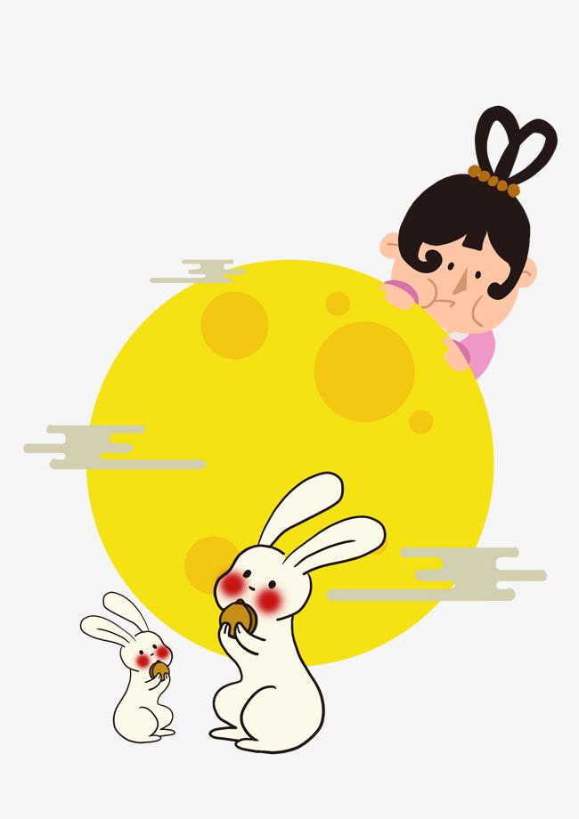手绘中秋节吃月饼的嫦娥与玉兔png素材