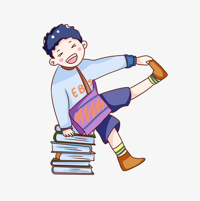 手绘卡通开学日中小学生                                    开心