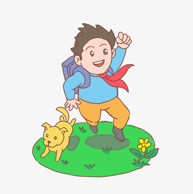 开学季小学生上学卡通手绘