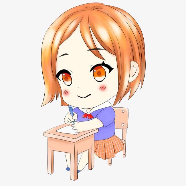 手绘写作业q版少女png素材
