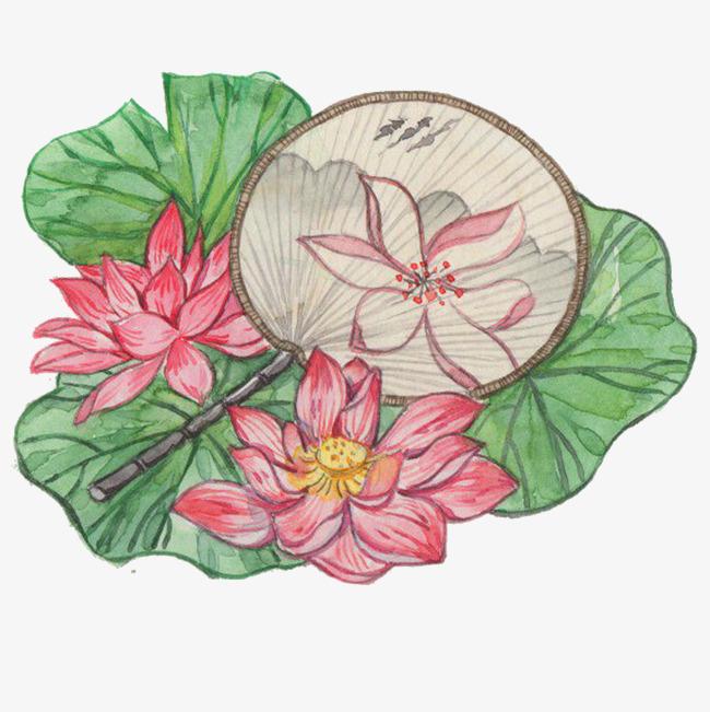 中国风手绘荷花团扇插画