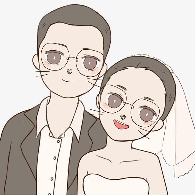 手绘情侣会婚礼插画