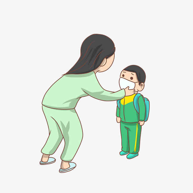 手绘妈妈关爱孩子插画