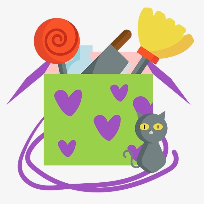 卡通手绘万圣节爱心礼物盒