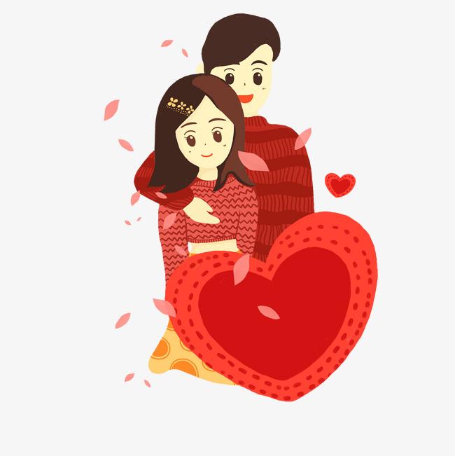 设计元素 人物形象 动漫人物 > 情侣粉红色唯美清新手绘风格情侣拥抱