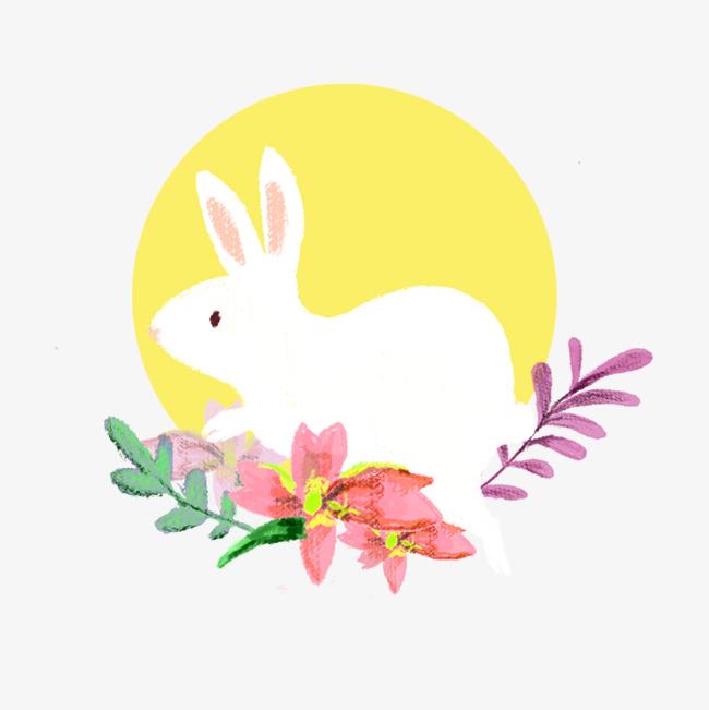 中秋节手绘小清新玉兔月亮花卉png图片素材(其他格式)