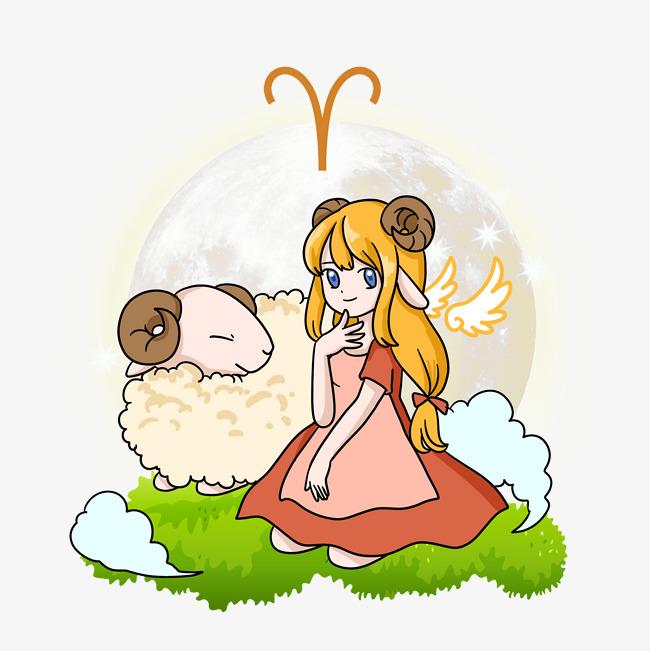 设计元素 人物形象 动漫人物 > 星座卡通插画合集白羊座   图片编号