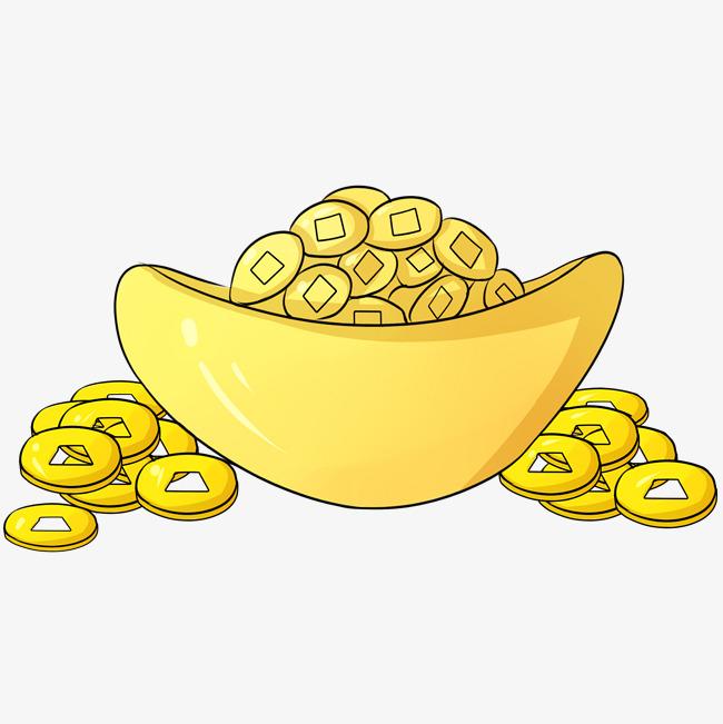 手绘金融元宝铜钱矢量插画