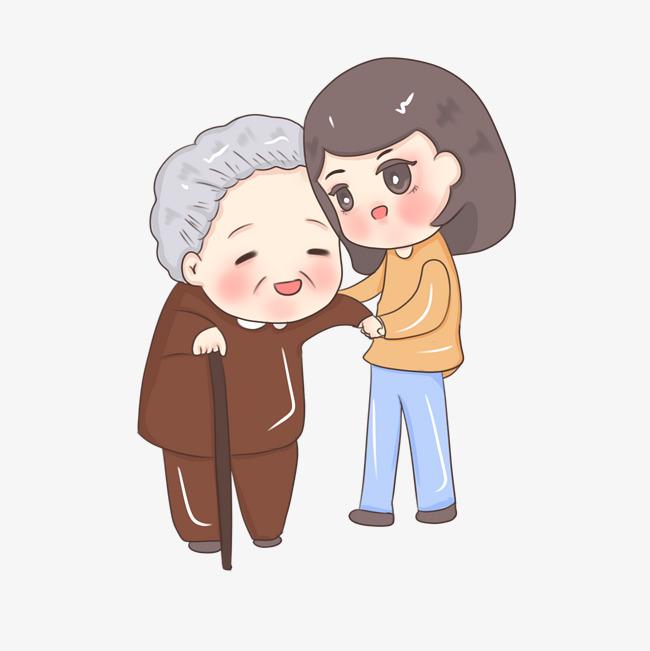 卡通手绘扶老奶奶小女生
