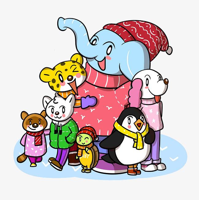 卡通冬季动物合照png透明底   图片编号:27634302 文件格式:psb 颜色