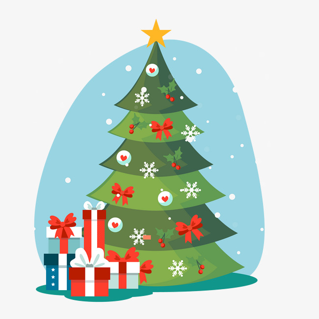 圣诞节手绘风可爱圣诞树圣诞礼物