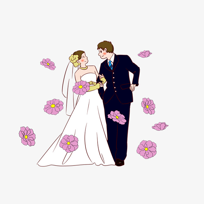 结婚人物手绘插画