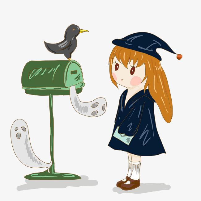 万圣节可爱小女巫卡通手绘