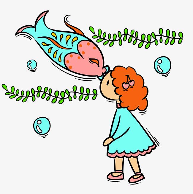 手绘卡通可爱梦幻童话小女孩和鱼