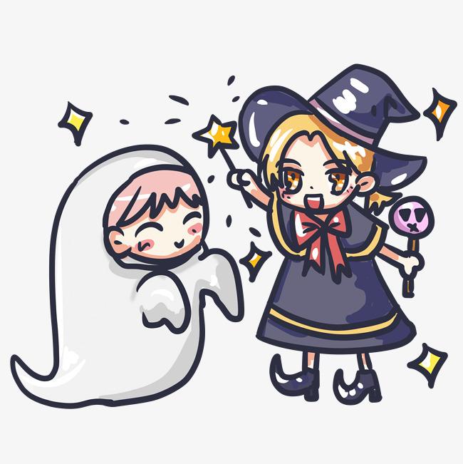 万圣节糖果派对女巫小鬼魂可爱卡通手绘素材