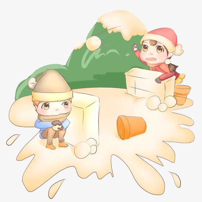 冬季暖色系卡通手绘风格小孩子打雪仗免扣