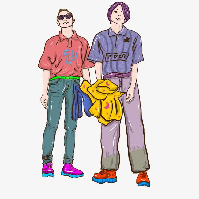 设计元素 人物形象 动漫人物 > 简约嘻哈风手绘插图psd源文件   图片