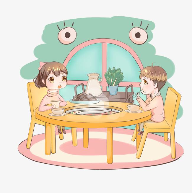 冬季暖色系卡通手绘风格小孩子吃完饭火免扣